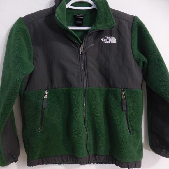 NORTH FACE green and charcoal grey denali fleece